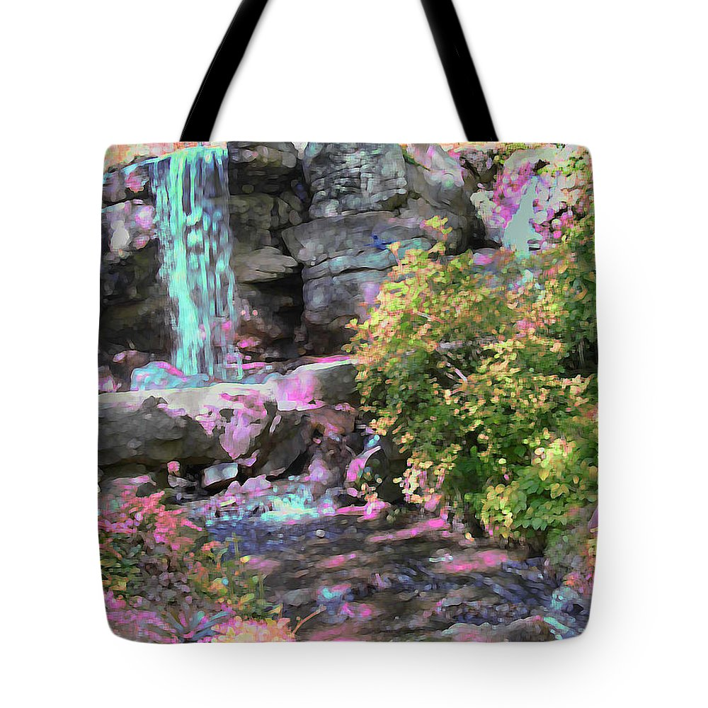 Waterfall Tote Bag featuring the photograph Blue Waterfall by Anne Cameron Cutri