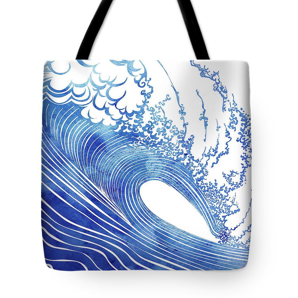 Swell Tote Bag featuring the mixed media Blue Wave by Stevyn Llewellyn
