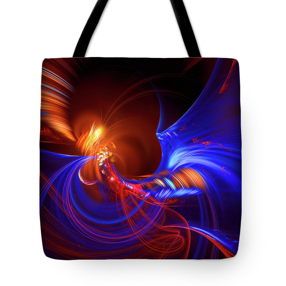 Abstract Background Tote Bag featuring the digital art Blue Whirlpool by Marfffa Art