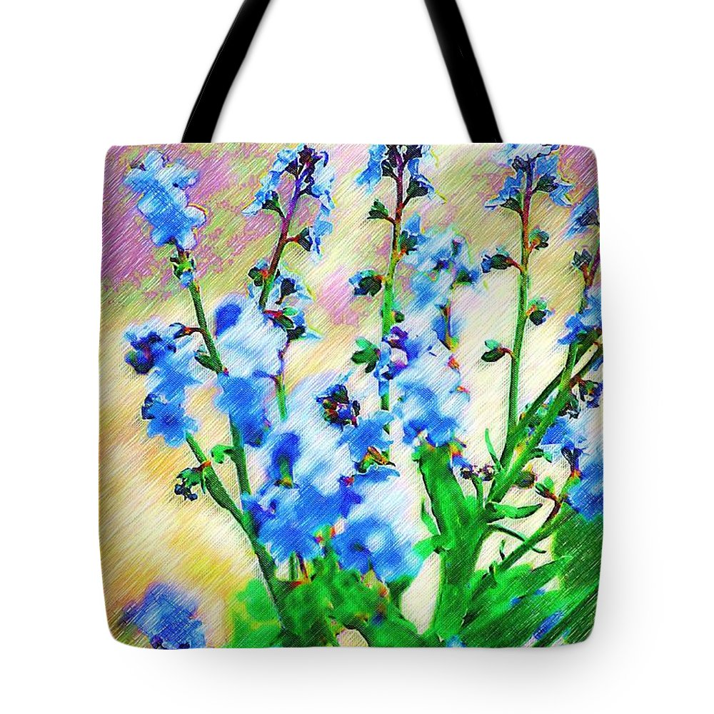 Blue Tote Bag featuring the photograph Blue Wildflowers by Donna Bentley