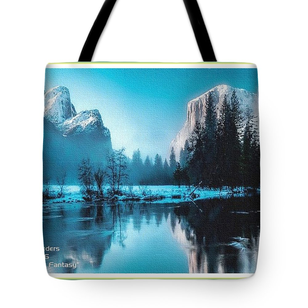 Rural Tote Bag featuring the painting Blue Winter Fantasy. L A With Decorative Ornate Printed Frame. by Gert J Rheeders