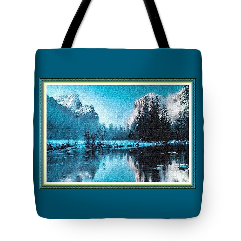 Rural Tote Bag featuring the painting Blue Winter Fantasy. L B With Decorative Ornate Printed Frame. by Gert J Rheeders