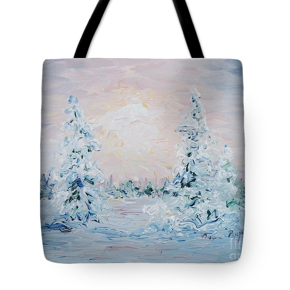 Landscape Tote Bag featuring the painting Blue Winter by Nadine Rippelmeyer