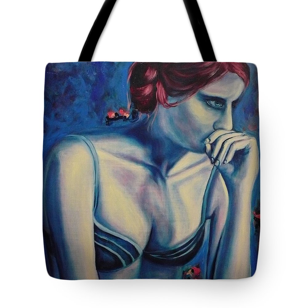 Blue Tote Bag featuring the painting Blue Woman Thinking by Ericka Herazo