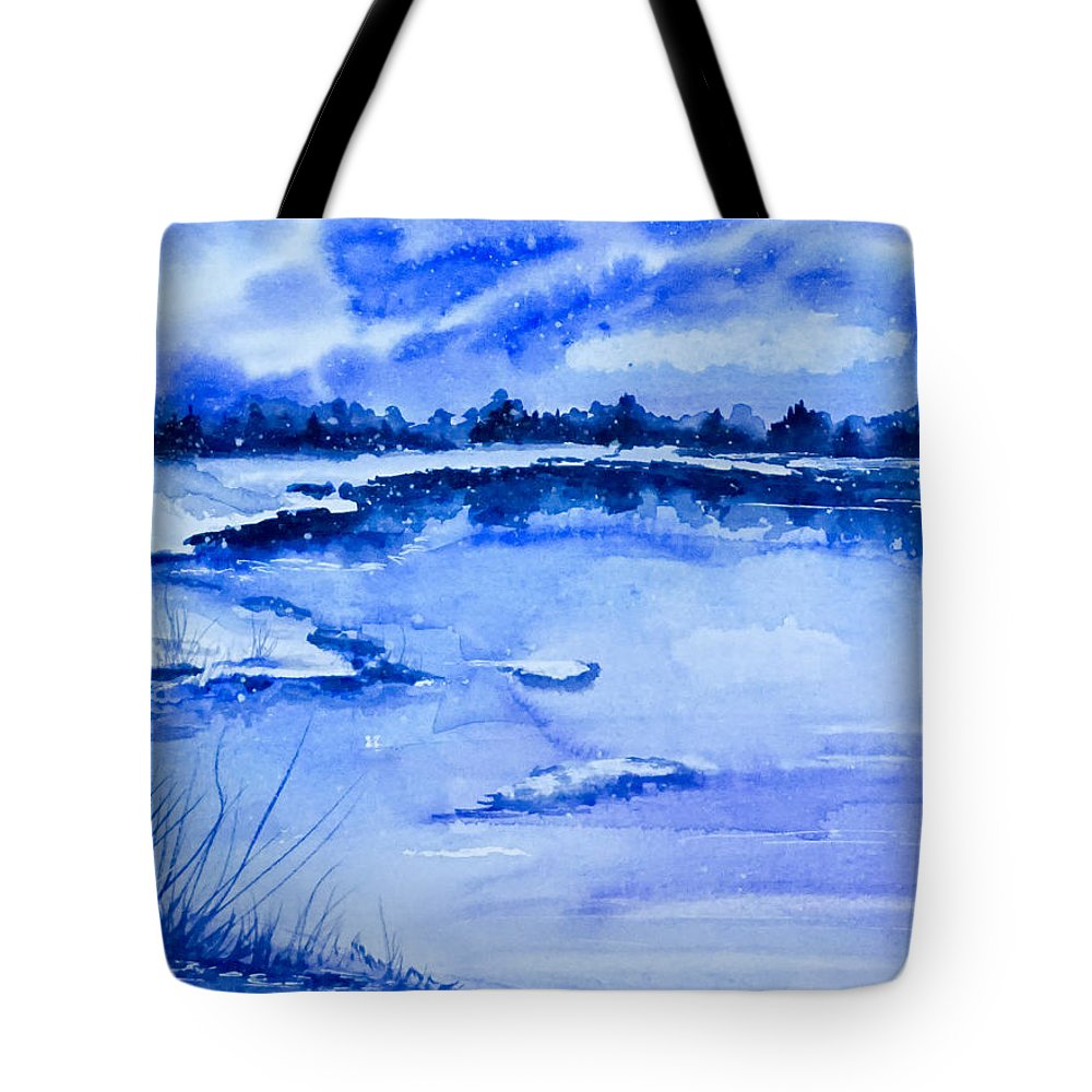 Winter Tote Bag featuring the painting Blue by Yuliya Schuster