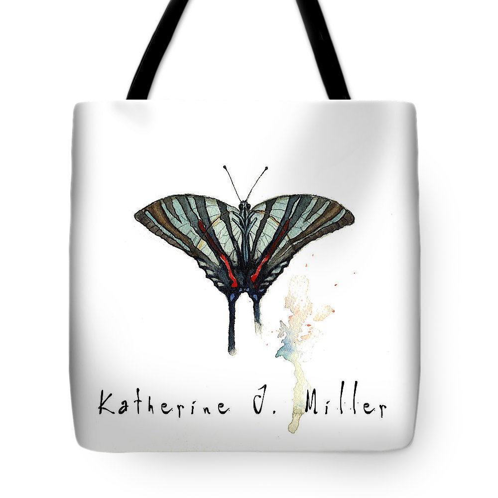 Blue Zebra Tote Bag featuring the painting Blue Zebra by Katherine Miller