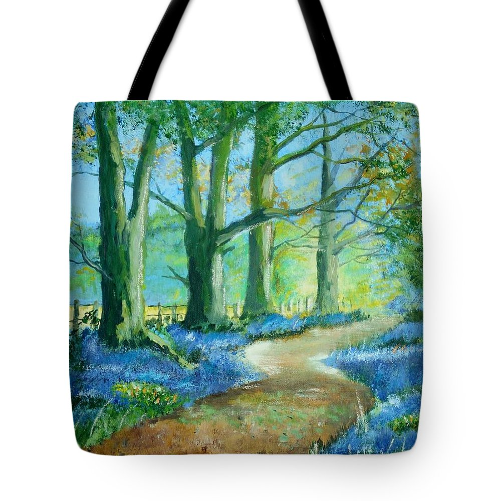 Art Tote Bag featuring the painting Bluebell Walk by Angie Wright