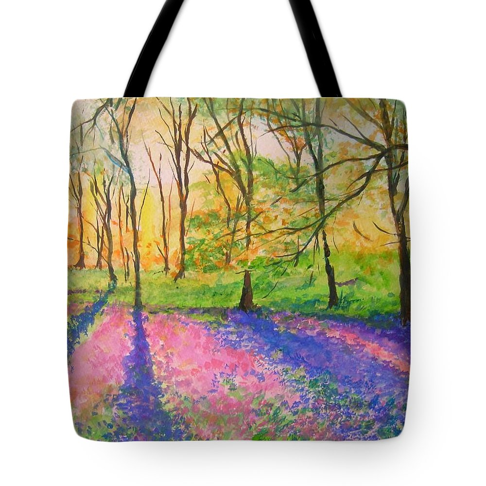 Landscape Tote Bag featuring the painting Bluebell Wood by Lizzy Forrester