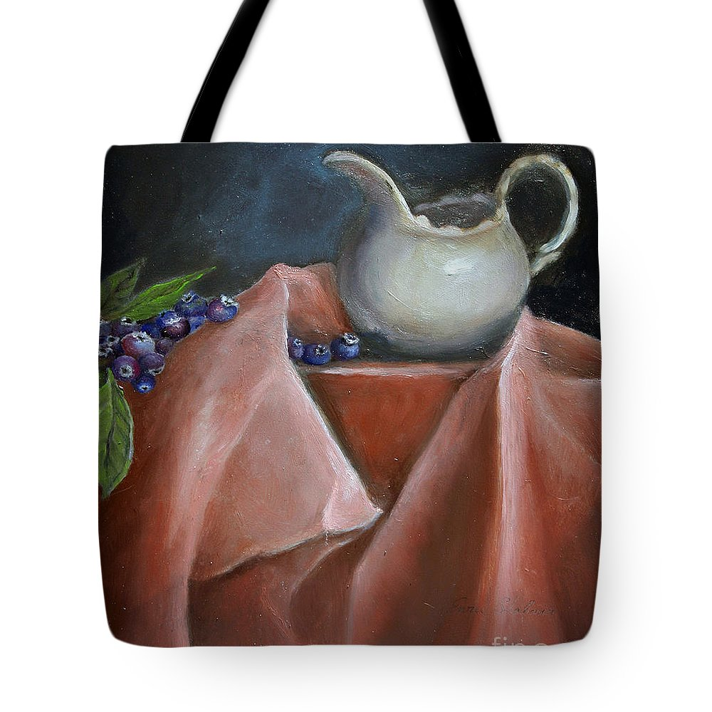 Blueberries Tote Bag featuring the painting Blueberries And Cream by Enzie Shahmiri