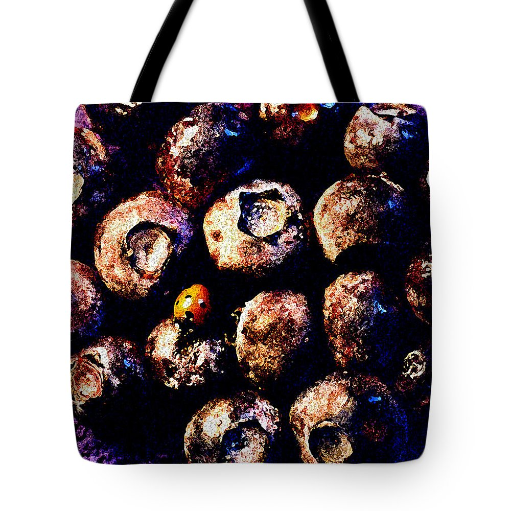 Blueberries Tote Bag featuring the photograph Blueberries And Ladybug by Nancy Mueller