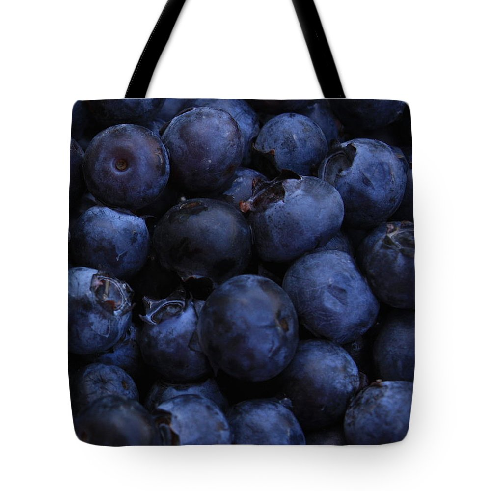Blueberries Tote Bag featuring the photograph Blueberries Close-up - Vertical by Carol Groenen