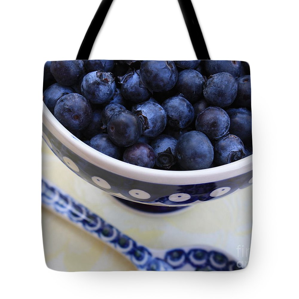 Food Tote Bag featuring the photograph Blueberries In Polish Pottery Bowl by Carol Groenen