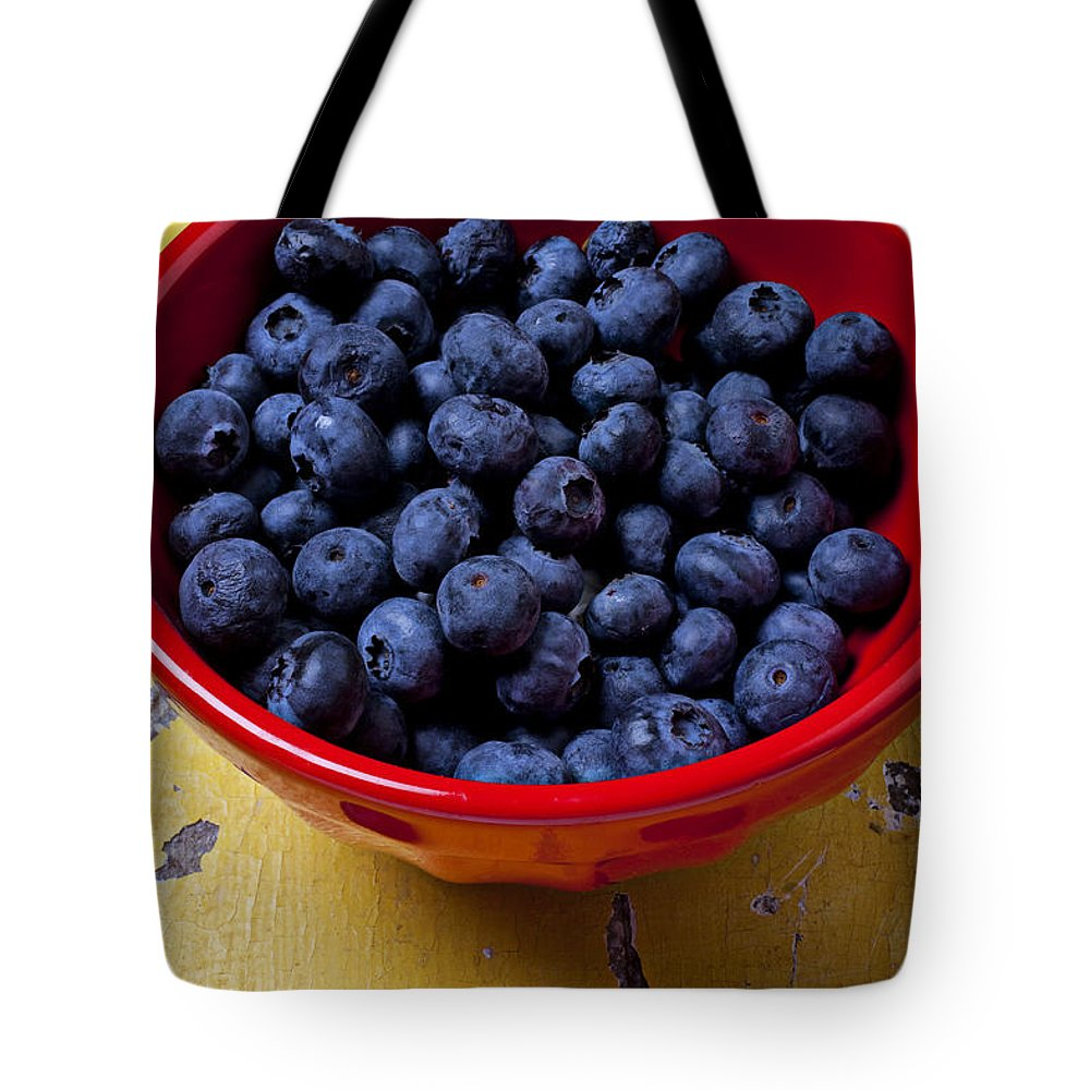 Blueberries Red Bowl Tote Bag featuring the photograph Blueberries In Red Bowl by Garry Gay