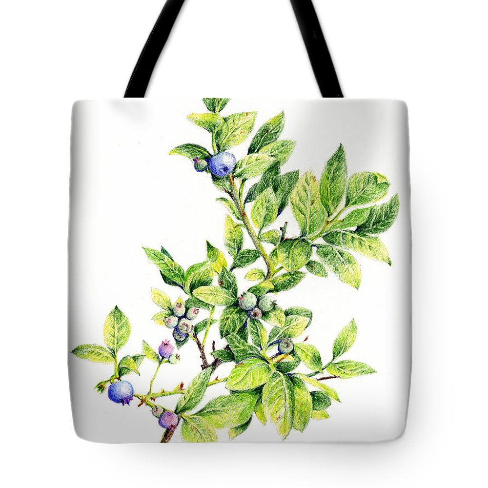 b5ef9611d1c Blueberry Tote Bag featuring the drawing Blueberry Branch by Betsy Gray