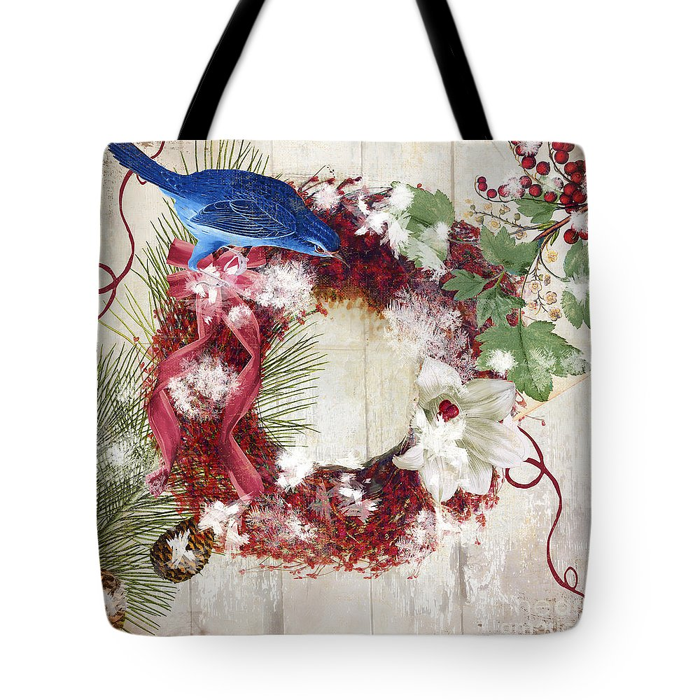 Bluebird Tote Bag featuring the painting Bluebird Christmas I by Mindy Sommers
