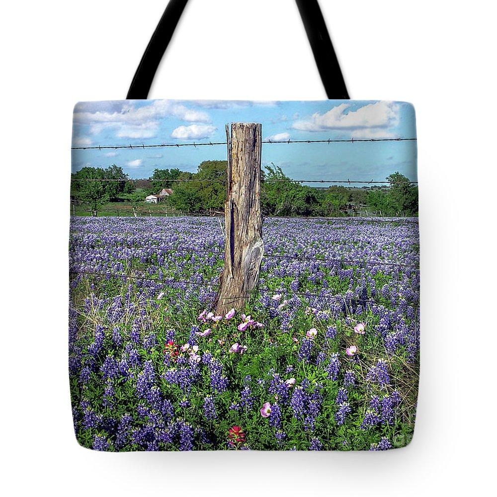 Bluebonnet Tote Bag featuring the photograph Bluebonnet Field by David Meznarich