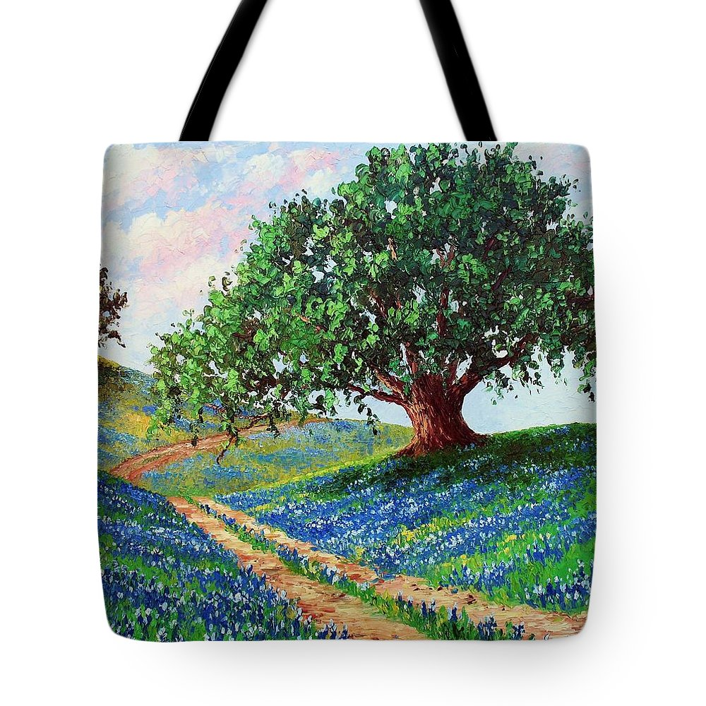 Bluebonnet Tote Bag featuring the painting Bluebonnet Road by David G Paul