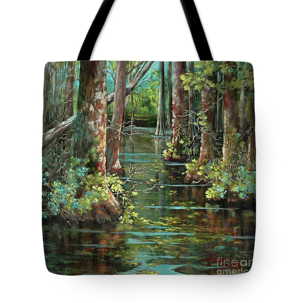 Louisiana Bayou Tote Bag featuring the painting Bluebonnet Swamp by Dianne Parks
