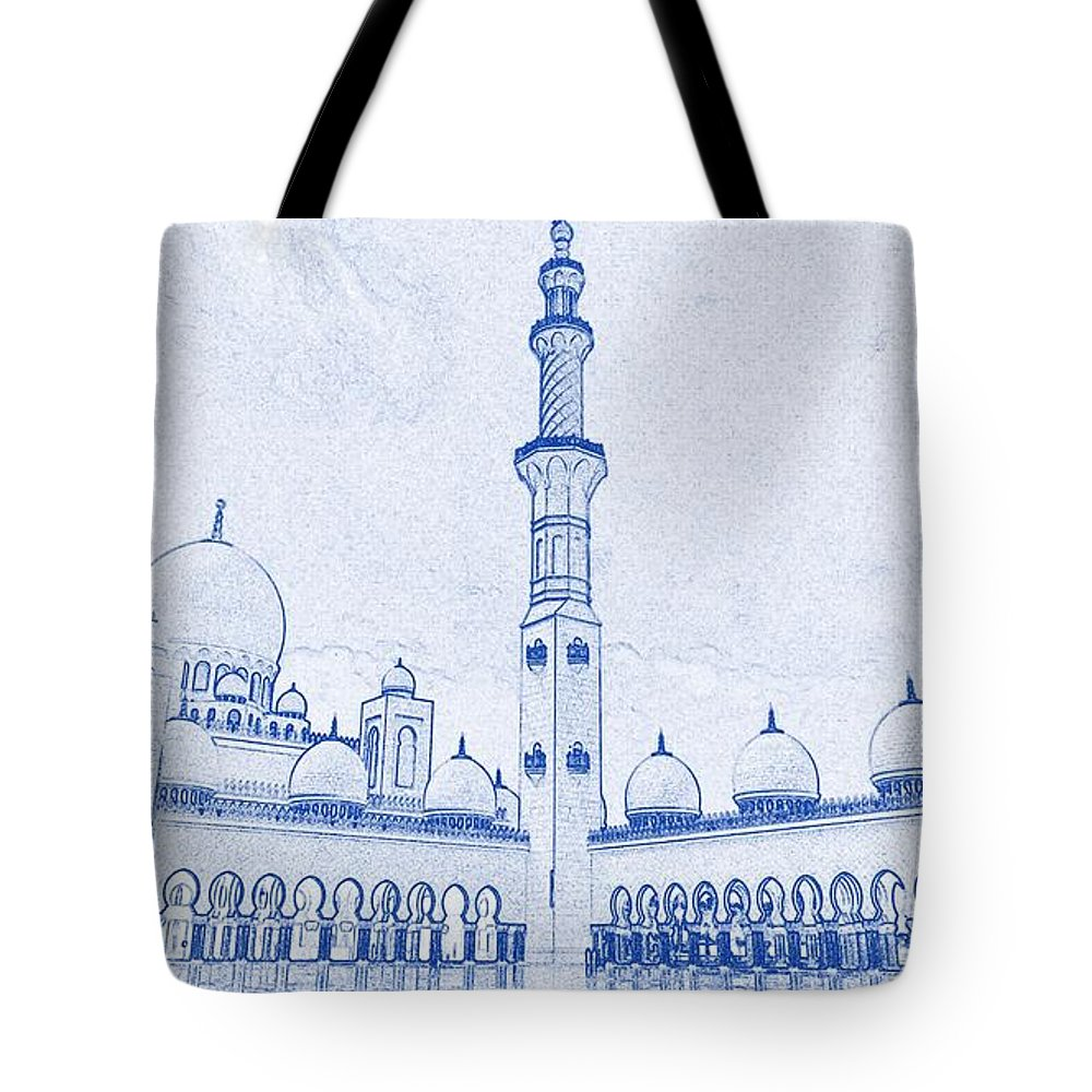 Blueprint drawing of abu dhabi sheikh zayed mosque islamic architectural blueprint font tote bag featuring the painting blueprint drawing of abu dhabi sheikh zayed mosque malvernweather Gallery