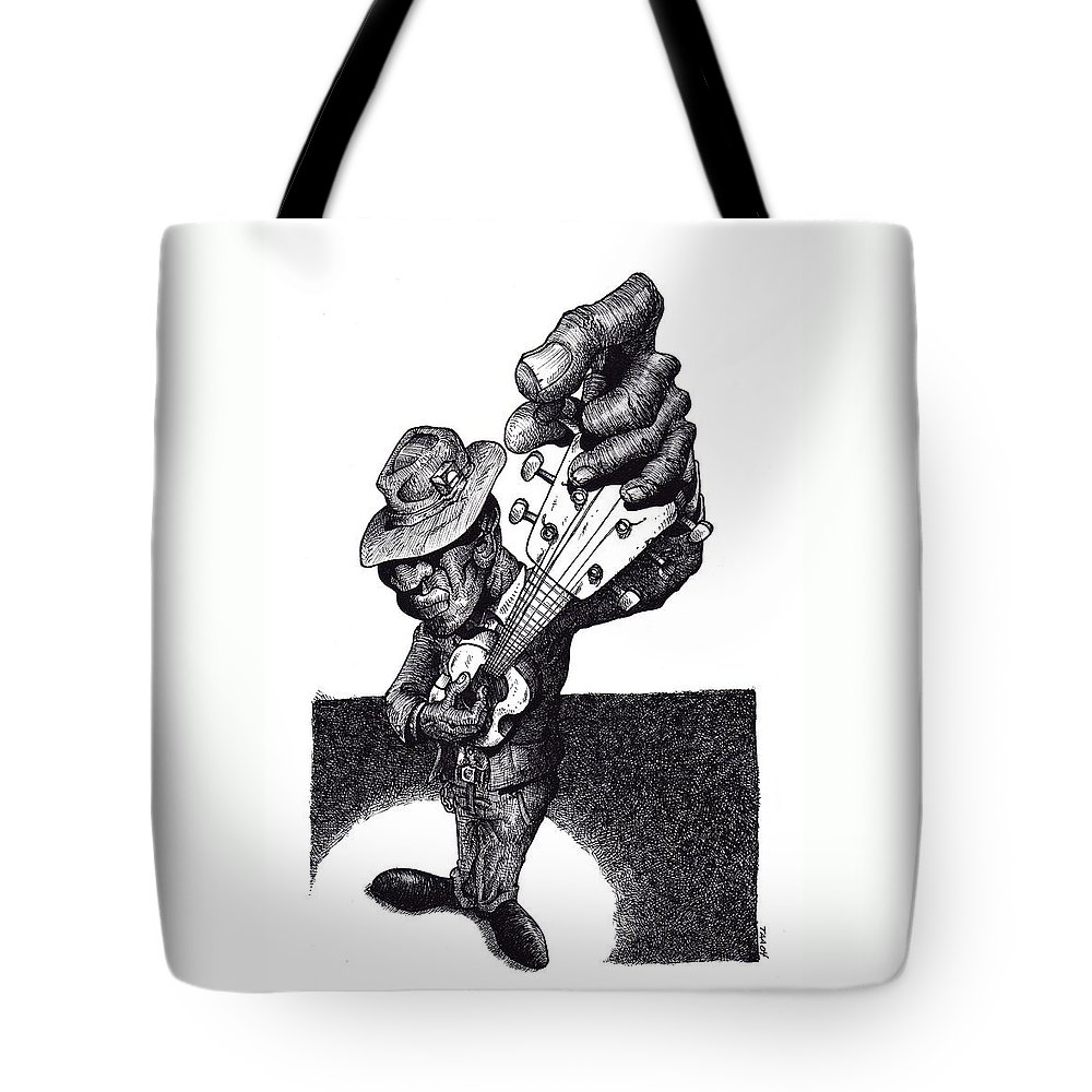 Blues Tote Bag featuring the drawing Blues Guitar by Tobey Anderson