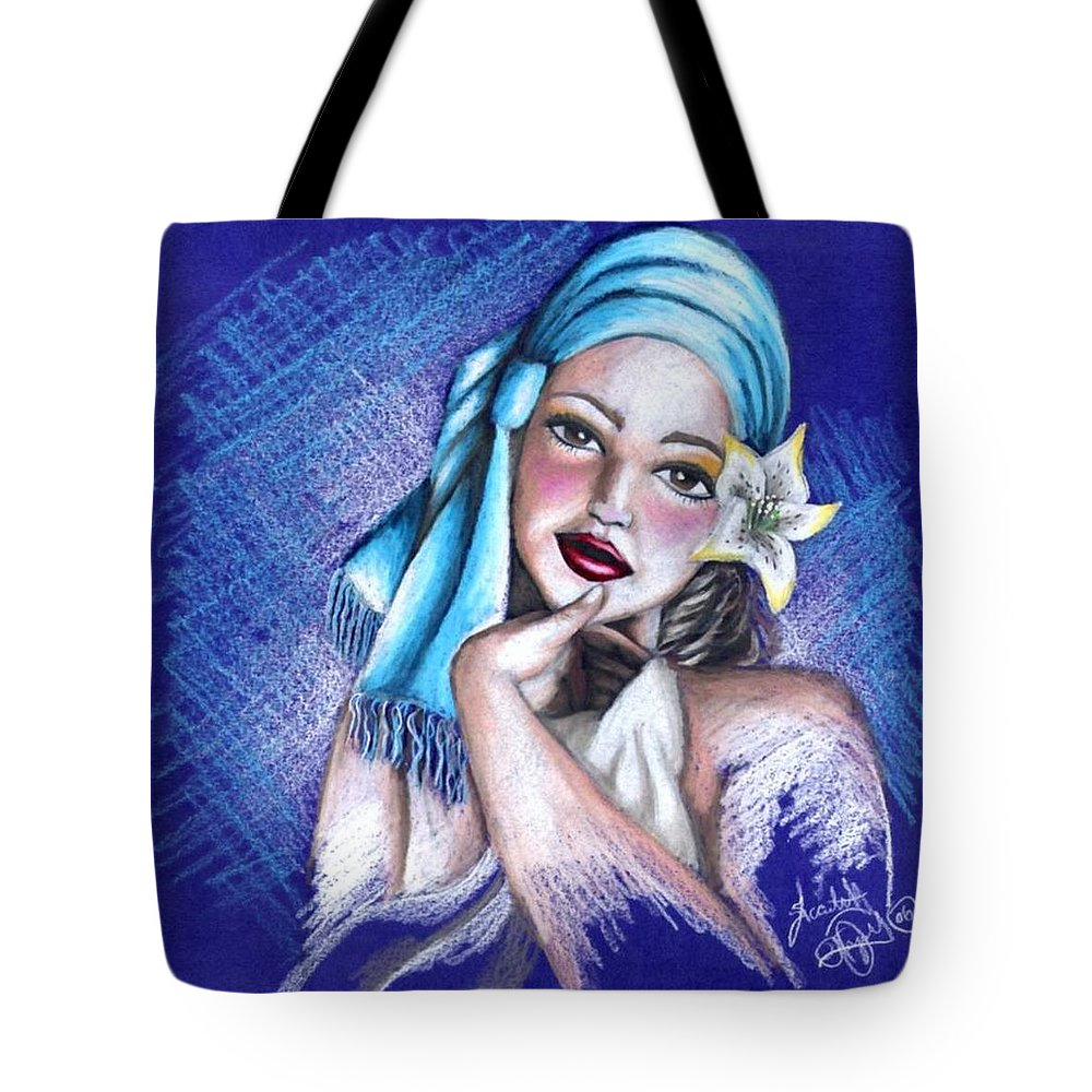 Portrait Tote Bag featuring the drawing Blues by Scarlett Royal
