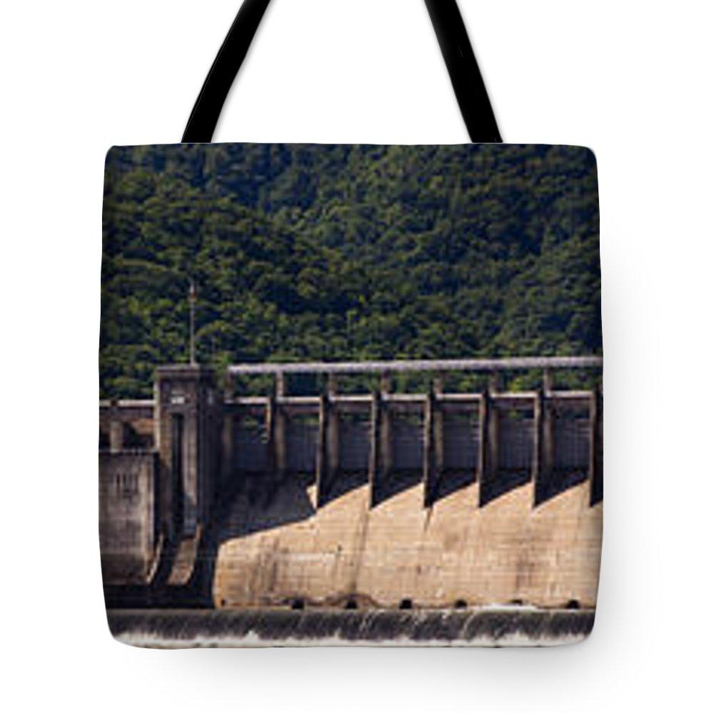 Bluestone Tote Bag featuring the photograph Bluestone West Virginia Dam Panorama by Teresa Mucha