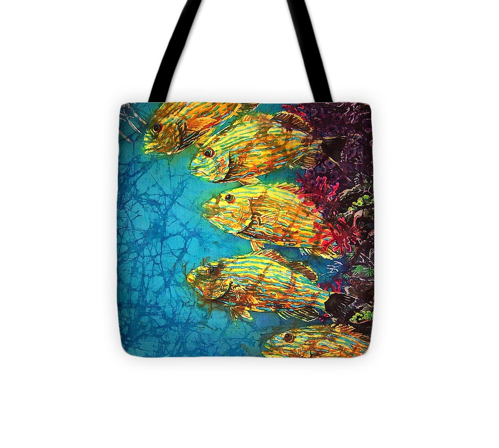 Bluestriped Grunts Tote Bag featuring the painting Bluestriped Grunts by Sue Duda