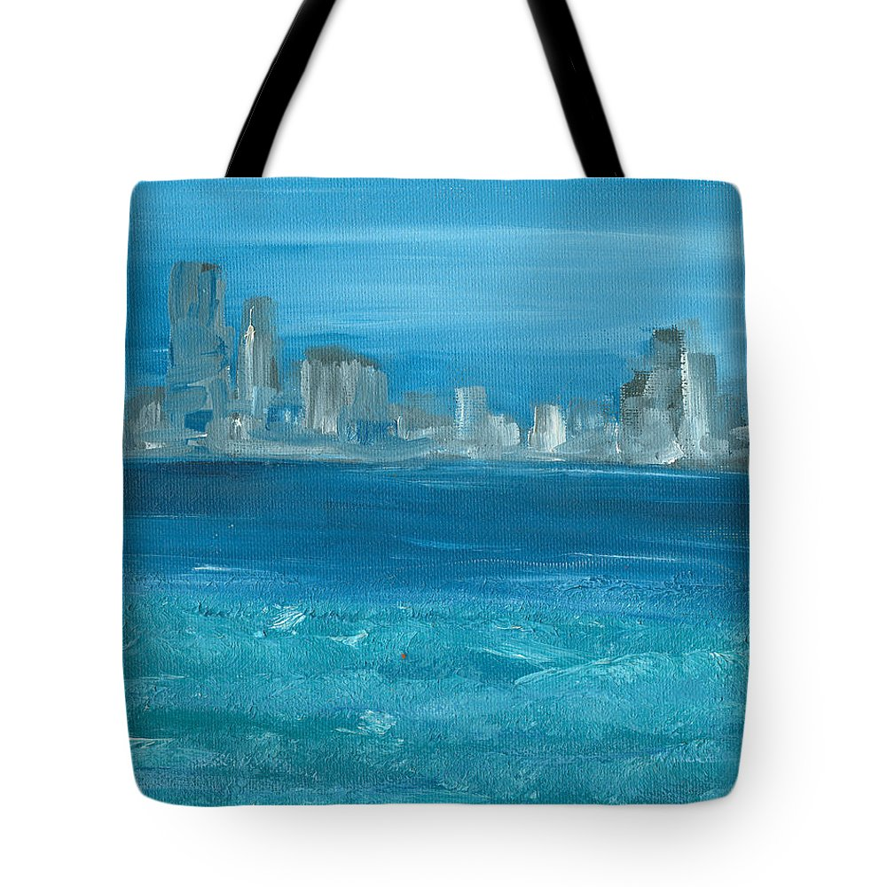 Seascape Tote Bag featuring the painting Bluesy by Jorge Delara