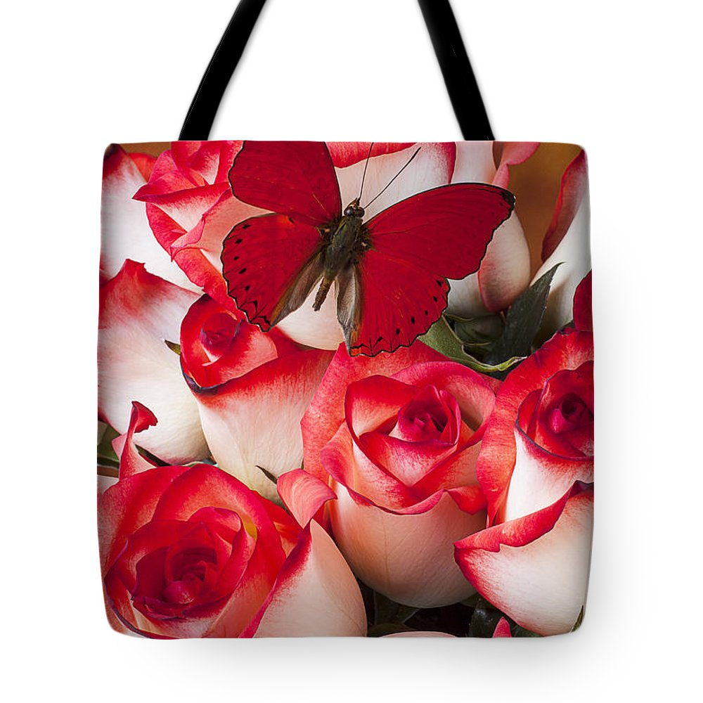Blush Roses Tote Bag featuring the photograph Blush Roses With Red Butterfly by Garry Gay