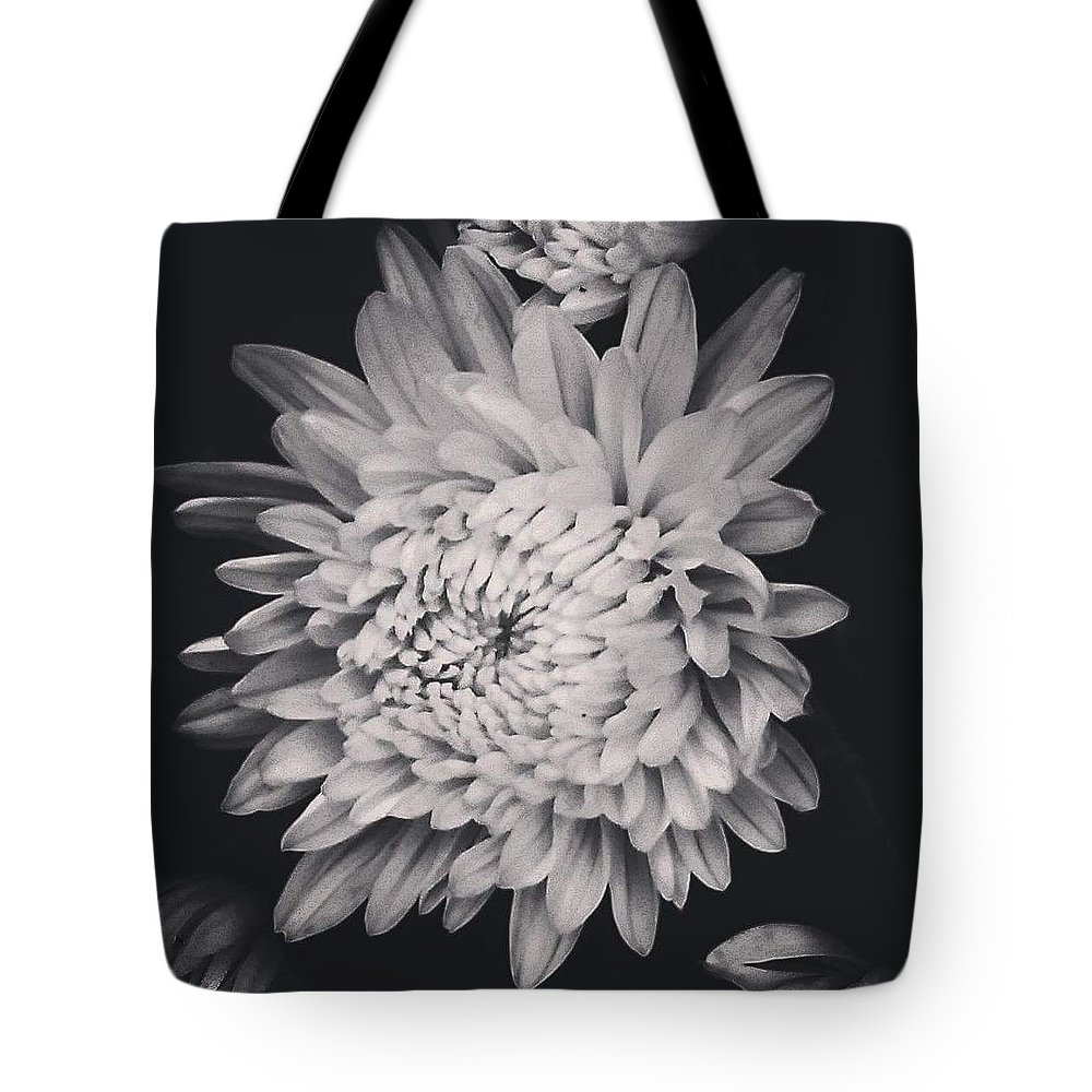 Flower Tote Bag featuring the photograph Bnw Flora by Aly Robinson