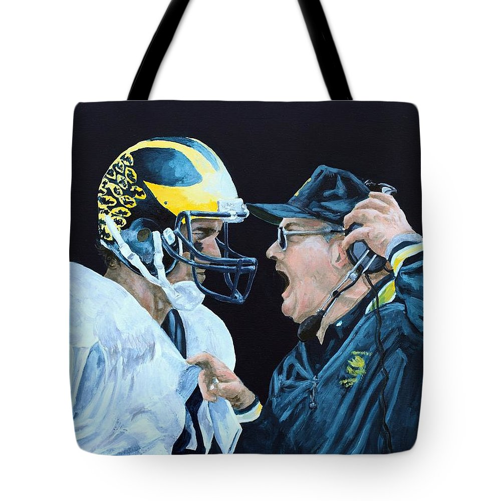 Michigan Tote Bag featuring the painting BO Knows by Travis Day