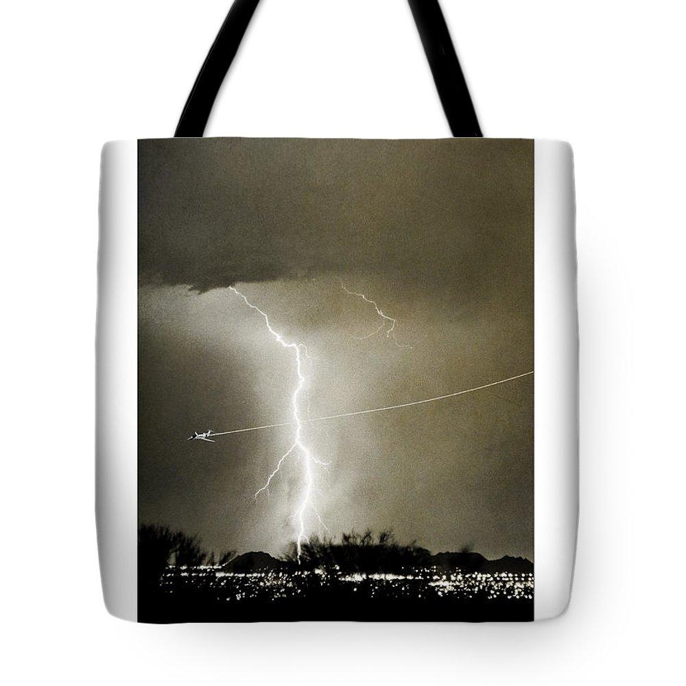 Lightning Tote Bag featuring the photograph Bo Trek Lightning Bw Fine Art Poster Print by James BO Insogna