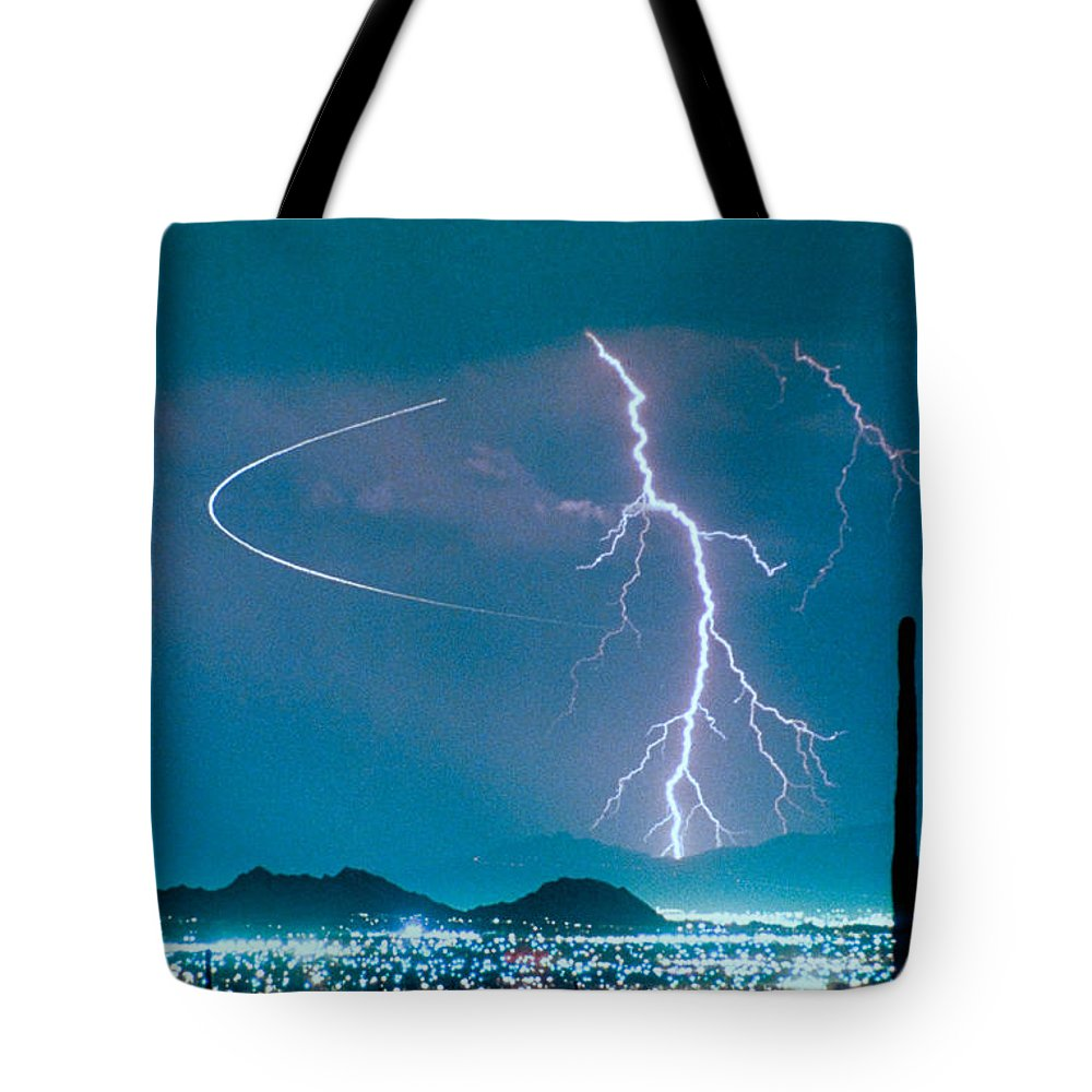 Lightning Tote Bag featuring the photograph Bo Trek The Poster by James BO Insogna