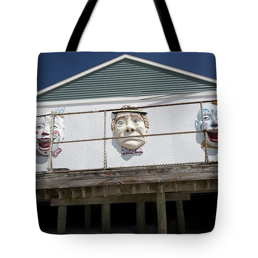 Clowns Tote Bag featuring the photograph Boardwalk Clowns by Mary Haber