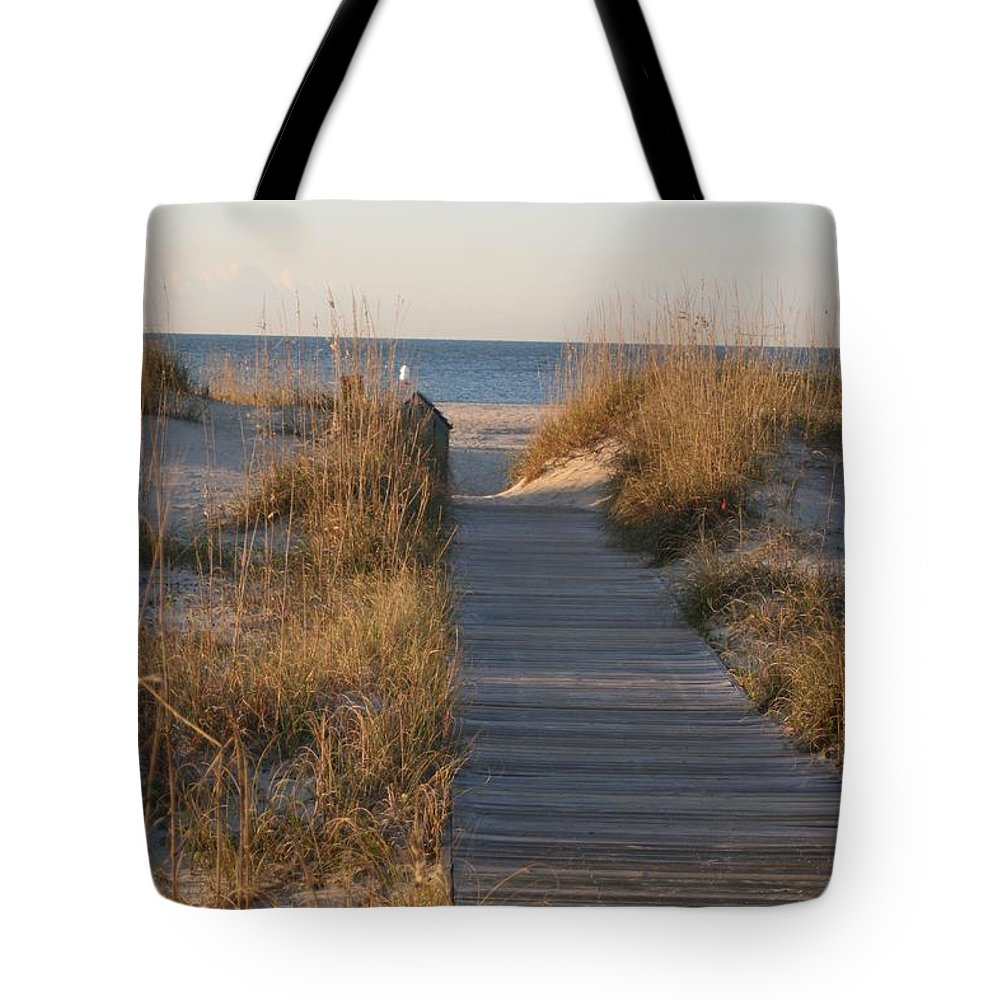 Boardwalk Tote Bag featuring the photograph Boardwalk To The Beach by Nadine Rippelmeyer