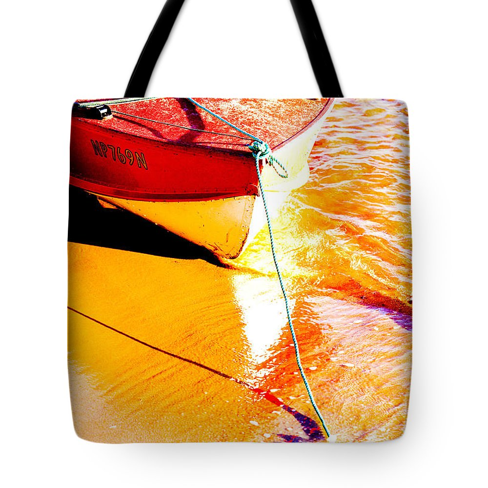 Boat Abstract Yellow Water Orange Tote Bag featuring the photograph Boat Abstract by Avalon Fine Art Photography