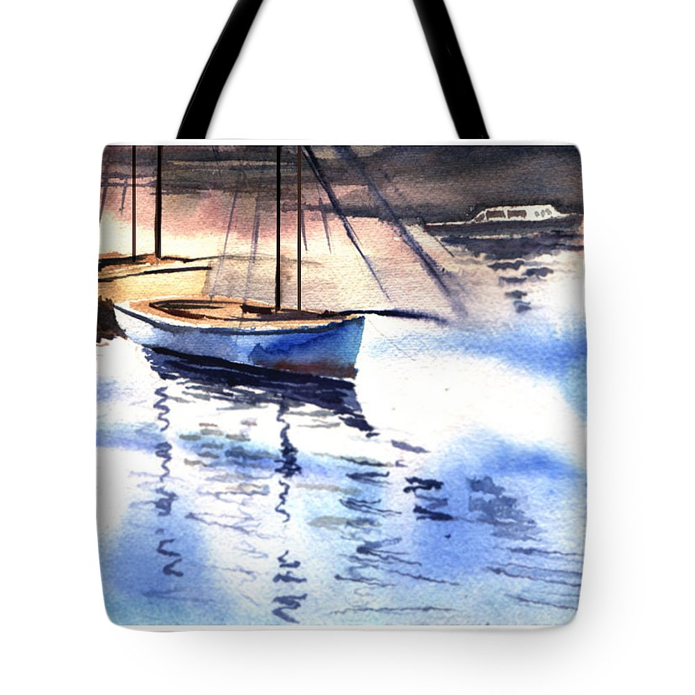 Watercolor Tote Bag featuring the painting Boat And The River by Anil Nene