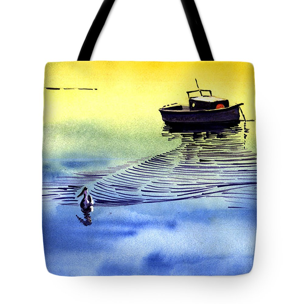 Watercolor Tote Bag featuring the painting Boat And The Seagull by Anil Nene
