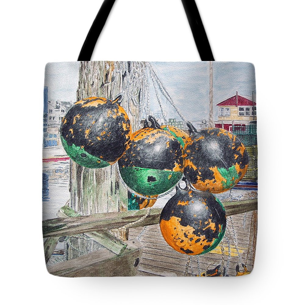 Boat Bumpers Tote Bag featuring the painting Boat Bumpers by Dominic White