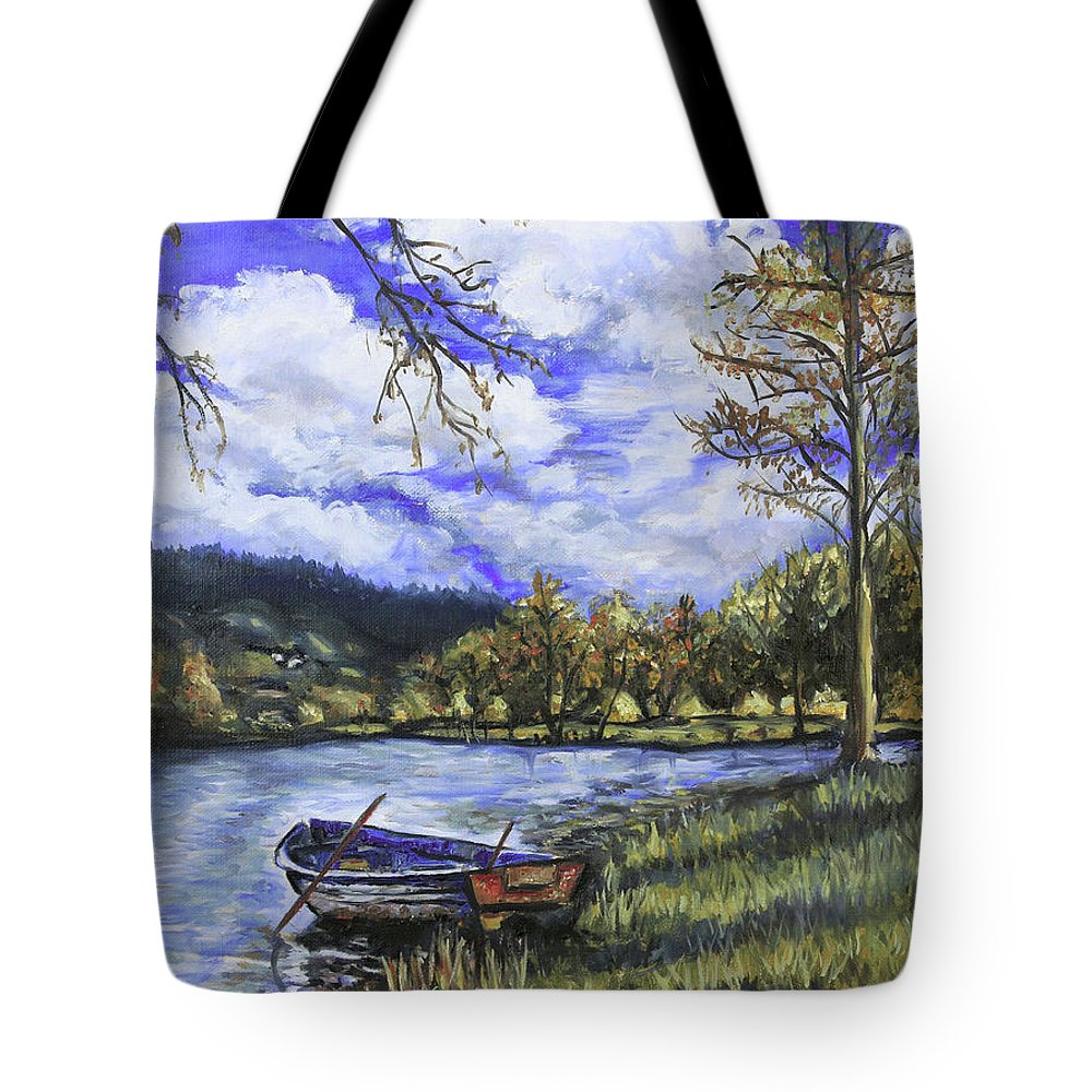 Oil Tote Bag featuring the painting Boat By The Lake by Shuanteya Sherman