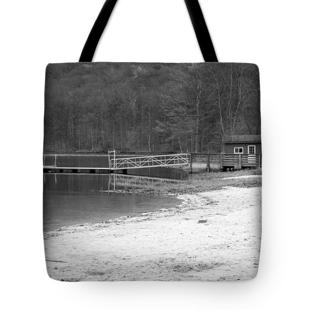 Blackandwhite Tote Bag featuring the photograph Boat Dock by Jennifer Wick