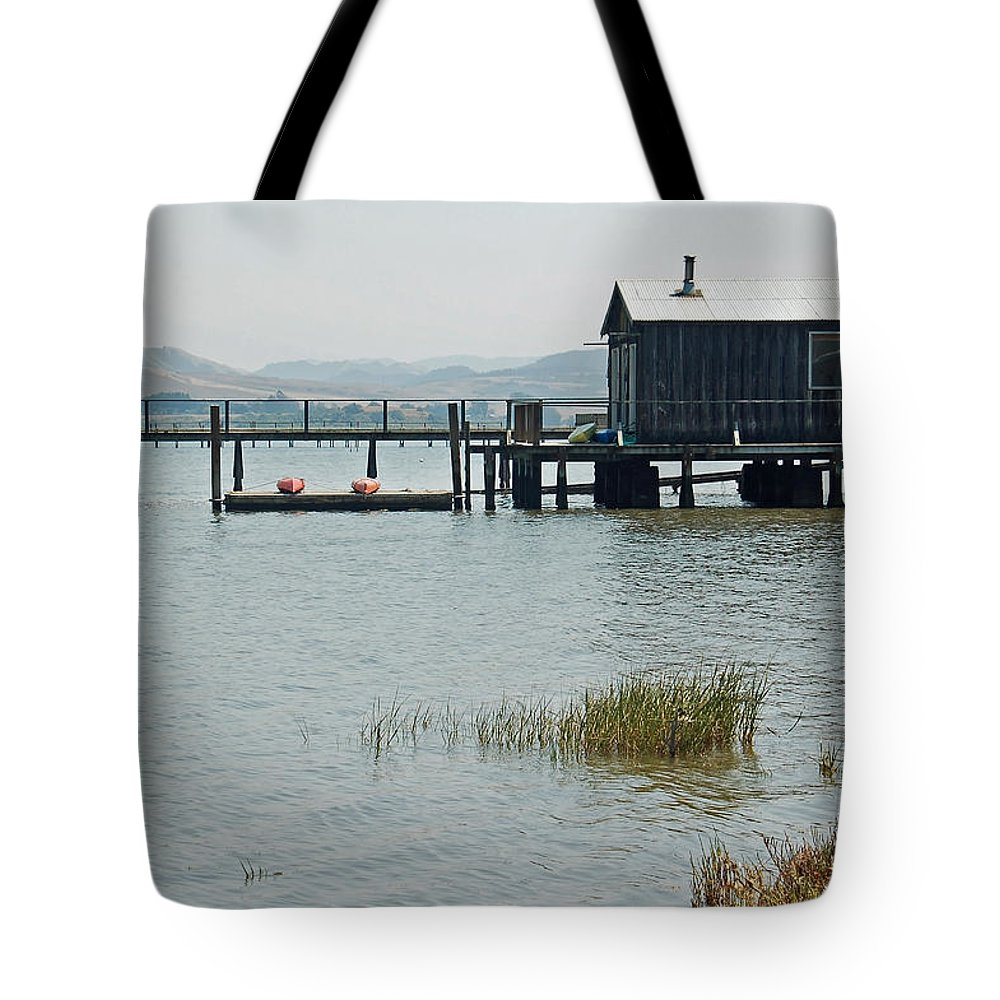 Boat House Tote Bag featuring the photograph Boat House at Inverness by Suzanne Gaff