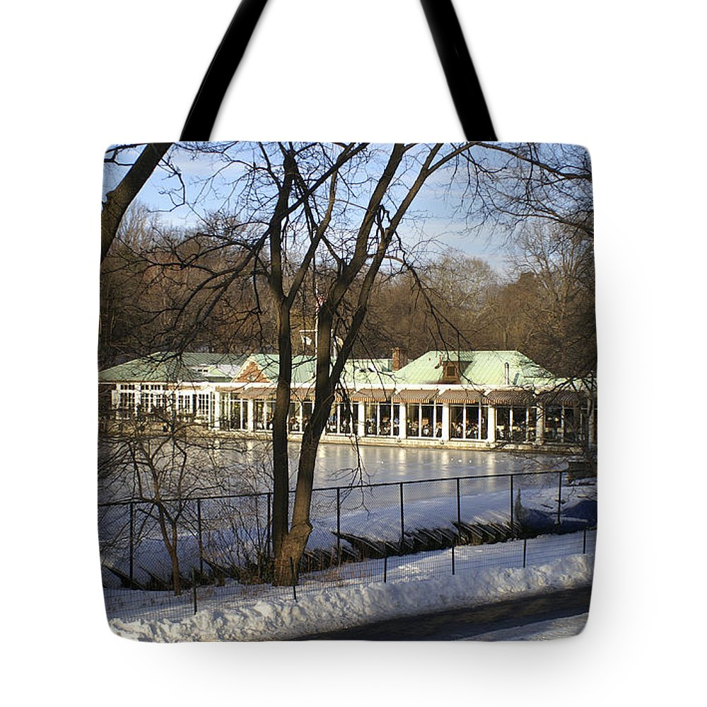 Boat Tote Bag featuring the photograph Boat House Central Park Ny by Henri Irizarri