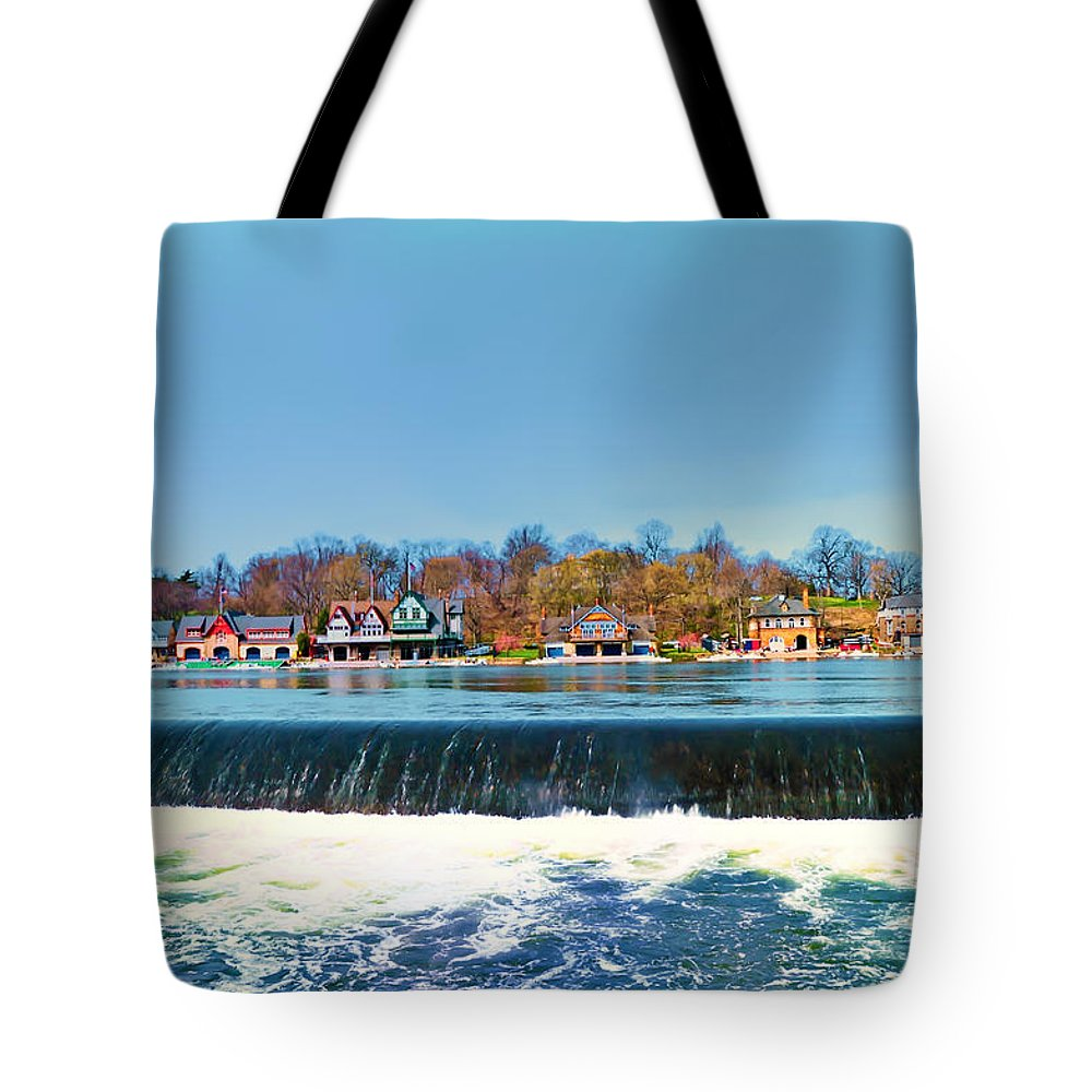 Philadelphia Tote Bag featuring the photograph Boat House Row From Fairmount Dam by Bill Cannon