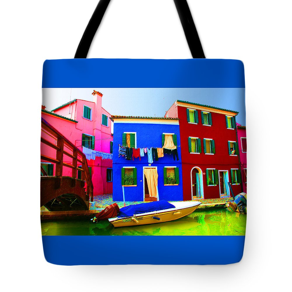 Burano Tote Bag featuring the pastel Boat Matching House by Donna Corless