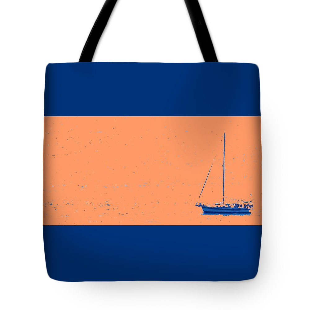 Boat Tote Bag featuring the photograph Boat On An Orange Sea by Ian MacDonald