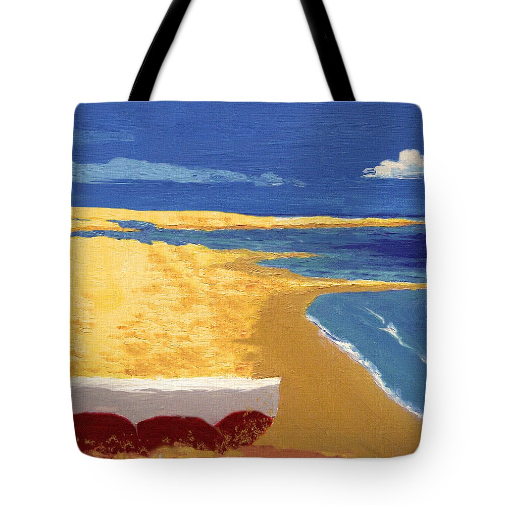 Boat Tote Bag featuring the painting Boat On The Sand Beach by Alban Dizdari