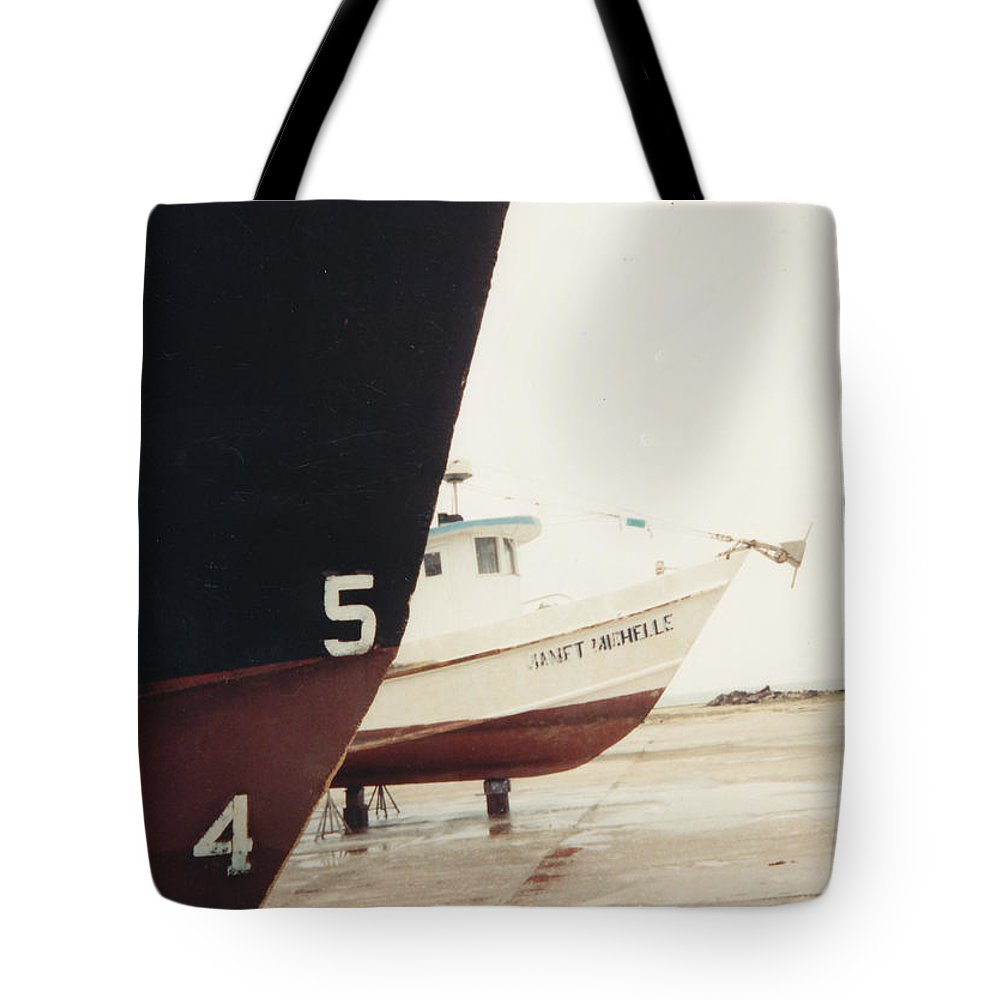 Boat Reflection Tote Bag featuring the photograph Boat Reflection And Angles by Cindy New