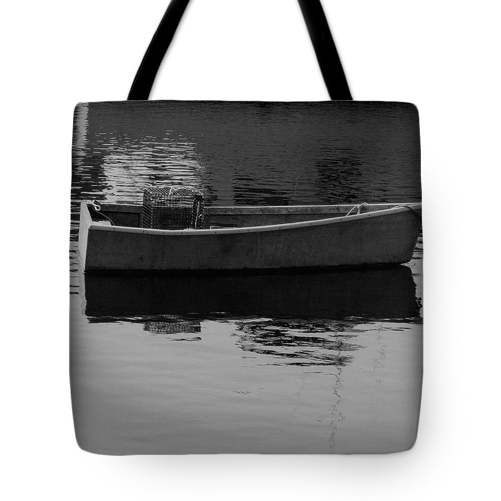 New England Tote Bag featuring the photograph Boat Reflections by Nancie DeMellia
