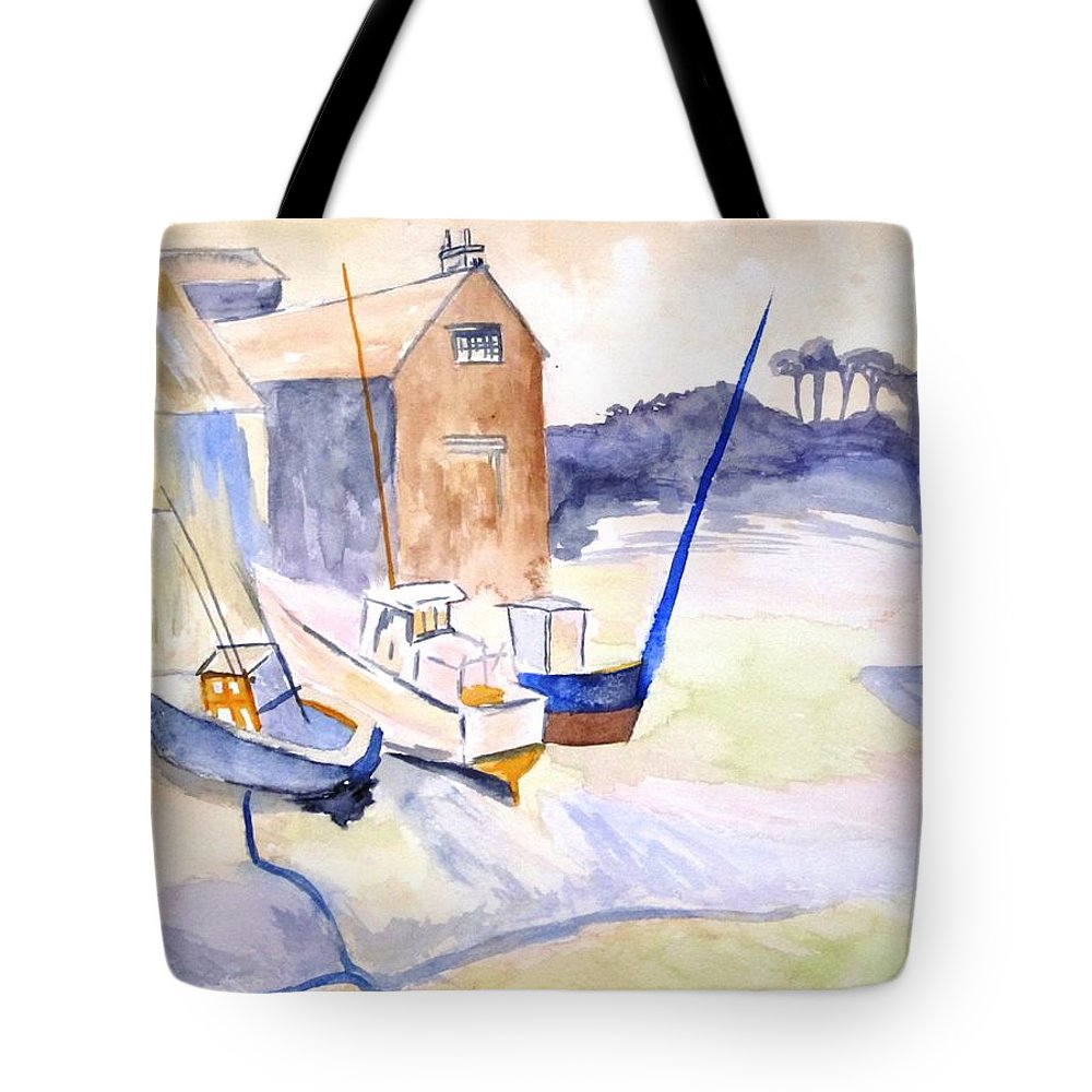 Martha's Vineyard Tote Bag featuring the painting Boat Yard by Tara Tyson